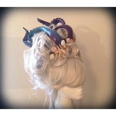 Custom Mermaid Sea Siren Ursula Wig (£63) ❤ liked on Polyvore featuring beauty products