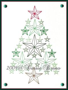 Christmas Tree Paper Embroidery Pattern for Greeting Cards