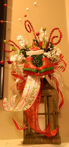 Christmas Lantern Swag, holiday decor, christmas decor, mantle decor by SouthernGalMotifs on Etsy https://www.etsy.com/listing/212348114/christmas-lantern-swag-holiday-decor