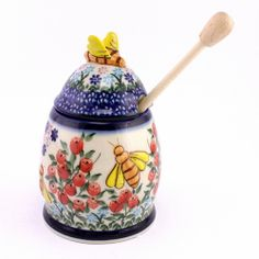 Adorable honey container with cute little bees, love it! By Polish pottery, see http://slavicapottery.com
