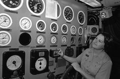 Thirty Years Ago: Ensign Roberta McIntyre, the first female to qualify as a surface weapons officer, checking the main gauge board in the propulsion plant of the submarine tender USS Dixon, where she served as electrical officer.