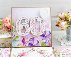 Today I would like to share an exploding box for Birthday. I decorated the box with elements from Spellbinders - Layered H. 60th Birthday Cards, Happy 60th Birthday, Box Cards Tutorial, Card Tutorials, Exploding Box Card, Anna Griffin Cards, Shaped Cards, Easel Cards, Vignettes