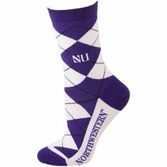 Wildcats White-Purple Argyle Socks, fits shoe sizes 6-11 with elastic cuffs.