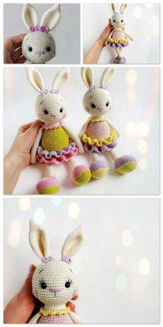 Crochet Amigurumi Free Patterns, Crochet Animal Patterns, Crochet Doll Pattern, Crochet Bunny, Crochet Cross, Stuffed Animal Patterns, Crochet Dolls, Love Crochet, Sleeping Bunny