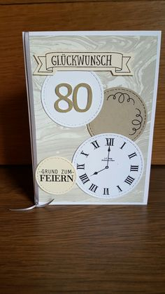 Zum 80. Geburtstags Karte Stampin up Up, Container, Food, Cards, Meal, Essen, Hoods, Meals, Canisters