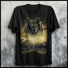 Wolves and Mountains Wolf T Shirt, High Quality T Shirts, Wolves, Special Gifts, Your Style, Shop Now, Mountains, Mens Tops, Stuff To Buy