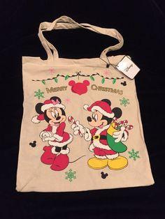 2d2a3bb7173 PRIMARK London Mickey Minnie Christmas Tote Bag Disney New Santa Mouse Tree  Sniw