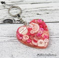 HEART - Resin Keyring - Pink Buttons - Bag Tag - Luggage Identifier