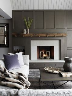 modern fireplace rustic mantle - Google Search