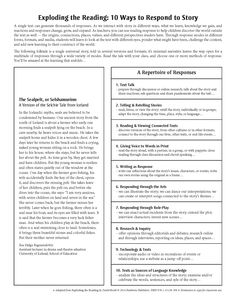 Exploding the Reading: 10 Ways to Respond to Story I Adapted from Exploding the Reading by David Booth *Copies Available!*