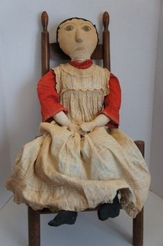"34"" embroidered face antique cloth doll the best!"