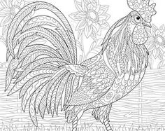 3 Coloring Pages. Animal coloring book pages for Chicken Coloring Pages, Farm Coloring Pages, Animal Coloring Pages, Coloring Books, Crayons Pastel, Rooster Art, Cartoon Rooster, Zen Colors, Galo