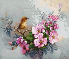 Pajaro y flores de manzana