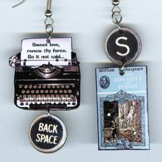 I'm totally geeking out over these Shakespeare earrings!