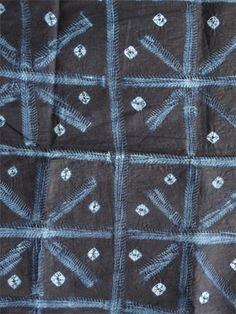 "Africa | Adire oniko and alabere ""fish-bone"" pattern; Cotton fabric tie-dyed and stitch-resist-dyed with natural indigo. 