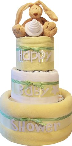 Personalised Unisex Nappy Cakes and Neutral Baby Shower Gifts - £44.99