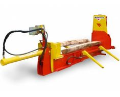 RABAUD - 80 tons power horizontal log splitter, to split in 24 or 28 logs. For wood professionnals. Firewood Processor, Log Splitter, Round Bar, Barbed Wire, Logs, Tractors, Air Force, Tattoo, Color