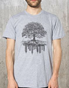 Men's T-Shirt - Tree and Crumbling City - Men's Graphic Tee - Men's Small Through 2XL Available by CrawlspaceStudios on Etsy https://www.etsy.com/listing/99134282/mens-t-shirt-tree-and-crumbling-city