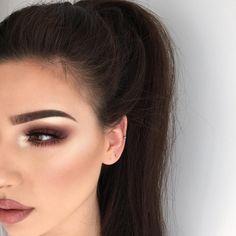 soft brown burgundy smokey eye, gold highlight, brows, mascara, contour, blush, natural lips, lipstick, make up, mulotd, ponytail, hairstyle