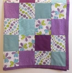 Modern Baby Girl Quilt Blanket Purple and by TakeTwoBabyQuilts, $54.90