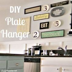 "DIY Plate Hangers  I may try this as she said it works in ""earthquake country"" which is right where I live! :)"