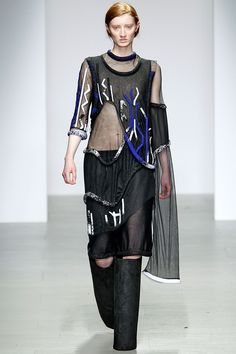 The sense of layering is organised in an almost 'poetic' way. The form of the garment is relaxed and creates a sense of ease and freedom.  Central Saint Martins MA - Fall 2014