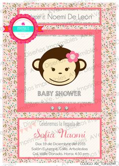 Invitaciones de Changuita para Baby Shower por AVeDisenoImprimible