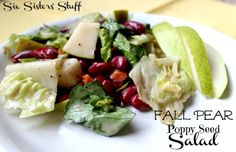 Fall Pear Poppy Seed Salad from sixsistersstuff.com.  Makes the perfect side dish to any meal this season. #recipes #salad #fall