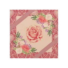 Rose Peony Blush Pink Purple Ribbons Floral Wood Print - floral style flower flowers stylish diy personalize