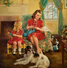 The Knitting Lesson Frederick Sands Brunner (1886 – 1954)