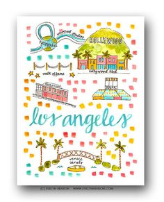 Los Angeles Map Print by Evelyn Henson