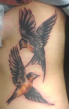 Custom swallows tattoo by Alexis Thomson @ Adrenaline Vancity