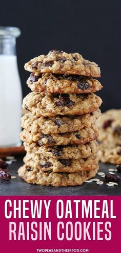 These Soft And Chewy Oatmeal Raisin Cookies Are A Family-Favorite! This Classic Cookie Recipe Is Easy To Make And Goes Great With A Glass Of Milk. Seriously One Of The Best Oatmeal Raisin Cookie Recipes You& Ever Make. The Best Oatmeal Raisin Cookie Recipe, Soft Oatmeal Raisin Cookies, Oatmeal Cookie Recipes, Easy Cookie Recipes, Easy Oatmeal Raisin Cookies, Healthy Oatmeal Cookies, Recipe For Oatmeal Rasin Cookies, Oatmeal Cake, Yummy Recipes