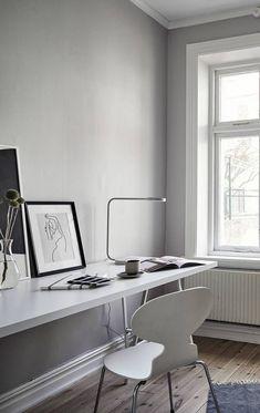 Simple grey office space - via Coco Lapine Design blog