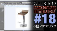 3ds max Proyecto Arquitectura Interior -18- Cocina - Silla Bar-Desayunador