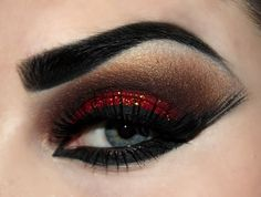 Red and black glitter makeup