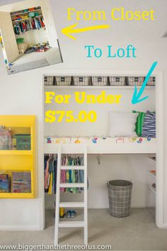 This closet was transformed to a usable storage and play loft for under $75.00.