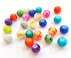 Multicolored Unique Round Glass Beads.  8mm in Size.   25 Beads.   Really Fun and Funky Beads!! by FunkyCreativeJuices on Etsy