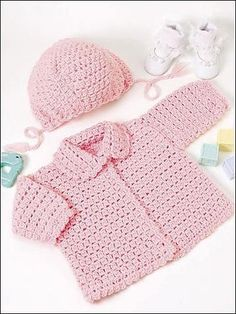 Crochet for Babies & Children - Crochet Kids Clothes Patterns The little girls in your family will look oh-so-cute dressed in this adorable pink sweater and hat. Fits child sizes: Instructions given fit 17 to 18 inch chest mos) Skill level: Intermediate - Crochet Baby Cardigan Free Pattern, Crochet Baby Sweaters, Crochet Baby Clothes, Crochet Jacket, Baby Knitting, Crochet Cardigan, Sweater Patterns, Beanie Pattern, Moda Crochet