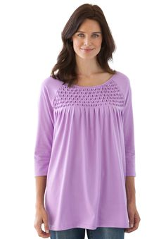 """Tunic top in soft knit with stretch smocking 
