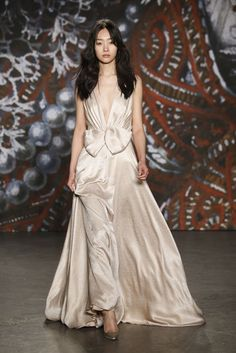 """Known for her beautifully ornate red carpet gowns, Jenny Packham took inspiration for fall from """"a quick visit to the Prado Museum in Madrid."""" [George Chinsee]"""