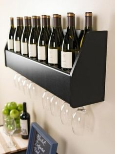 Floating Wall Mount Wine Rack Wine Glass Storage Holder Kitchen Bar Dinning Room