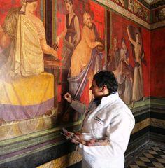Interior restoration to the delicate frescoes at villa dei Misteri, Pompeii. Art And Architecture, Architecture Details, Fresco, Sculpture Textile, Roman Art, Ancient Romans, Italian Style, Art World, Love Art