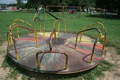 Merry Go Round. this was the best, playgrounds were never the same. Remember how the dirt around this would be worn down and a ditch was dug just from running around this thing to get it spinning? School Memories, Great Memories, Photo Vintage, Retro Vintage, Vintage Toys, Childhood Toys, Childhood Memories, Merry Go Round, Ol Days