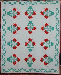40's Red Green Carolina Lily Applique Antique Quilt | eBay
