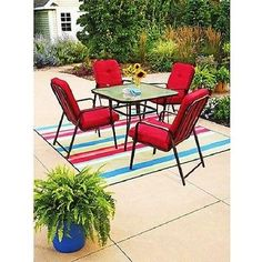 Outdoor Wrought Iron 6-Piece Patio Dining Set Seats 4 Table Red  8'' Umbrella