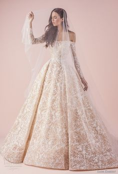 saiid kobeisy 2018 bridal long sleeves straight across full embellishment romantic princess blush color ball gown wedding dress chapel train (3261) mv -- Saiid Kobeisy 2018 Wedding Dresses