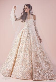 15f29fc6107 saiid kobeisy 2018 bridal long sleeves straight across full embellishment  romantic princess blush color ball gown