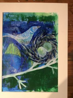 Gelli print and gouache Nesting time 2016 Jcdc.com.au Time 2016, Gouache, Christianity, Studio, Night, Artwork, Study, Work Of Art, Studios