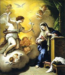 Annunciation by Paolo de Matteis, 1712. The white lily in the angel's hand is symbolic of Mary's purity